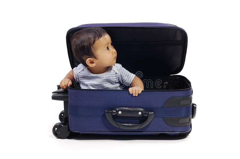 Baby In The Suitcase Stock Photo