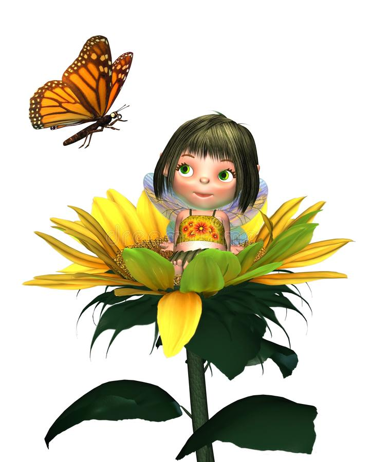 Free Baby Sunflower Fairy With Butterfly Royalty Free Stock Photo - 15249635