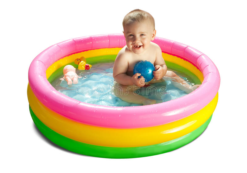 Baby swimming in kid inflatable pool stock image image for Baby k piscinas