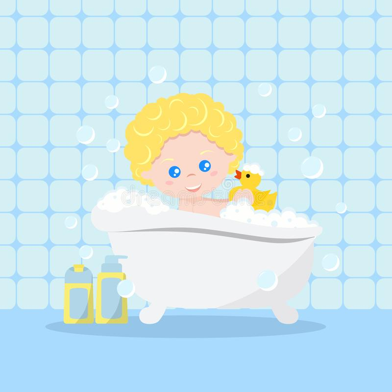 Baby taking a bath playing with foam bubbles and yellow rubber duck on bath interior background vector illustration