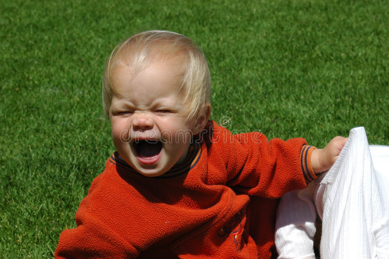 Baby tantrum royalty free stock photo