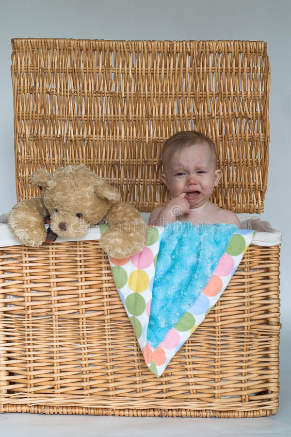 Download Baby and Teddy stock image. Image of angry, pink, sitting - 2450071