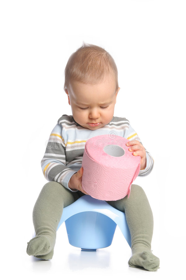 Baby with tee-pee. Baby with pink tee-pee on the chamberpot stock images