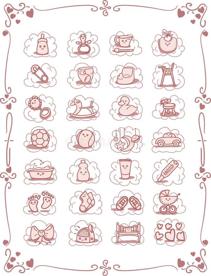 Baby Theme Cartoon Icons vector illustration