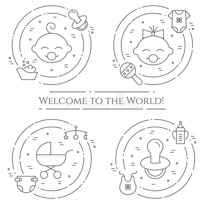 Baby theme horizontal banner. Pictograms of baby, pram, crib, mobile, toys, rattle, bottle, diaper, bathtub, cloth, bib and other stock illustration