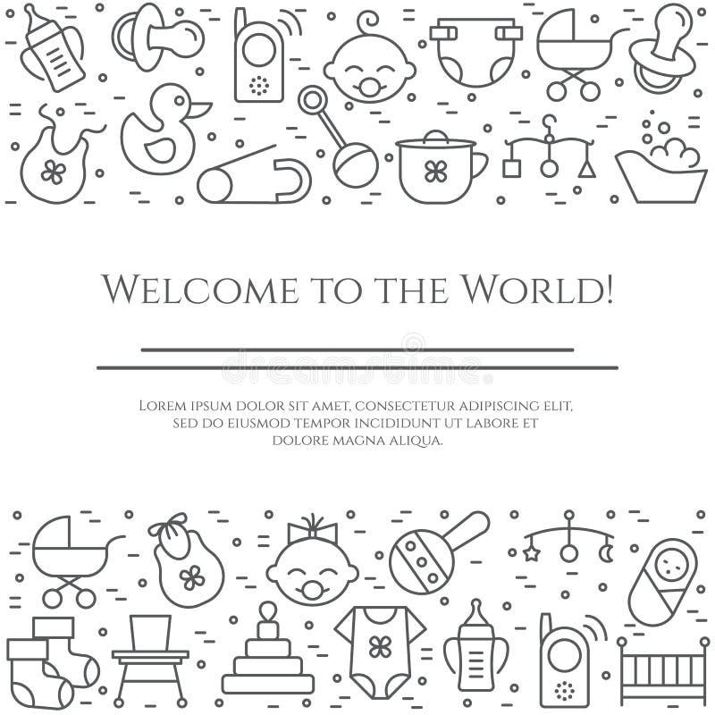 Baby theme horizontal banner. Pictograms of baby, pram, crib, mobile, toys, rattle, bottle, diaper, bathtub, bib and other newborn vector illustration