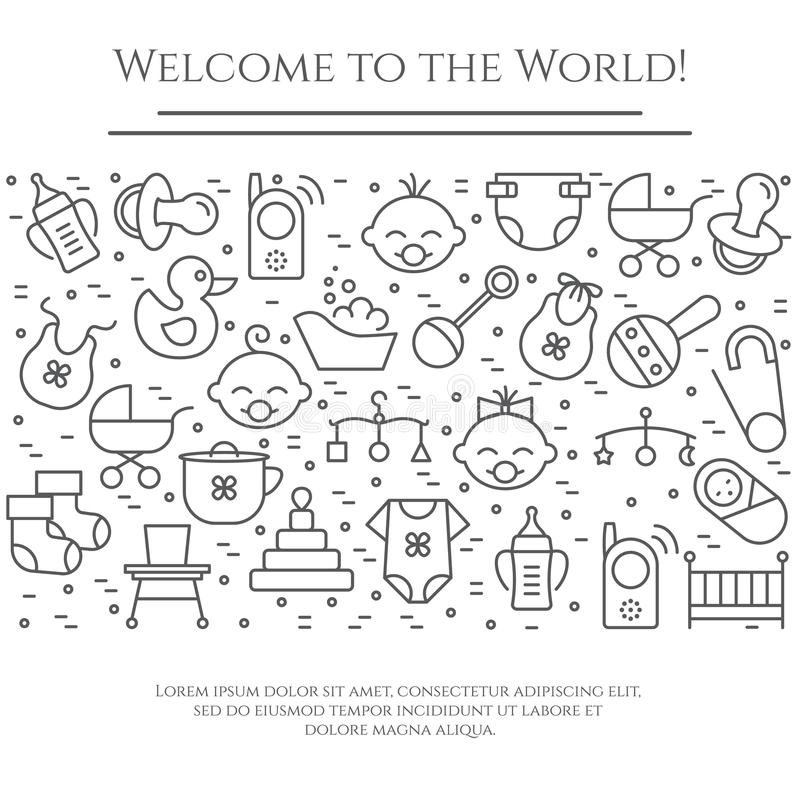 Baby theme horizontal banner. Pictograms of baby, pram, crib, mobile, toys, rattle, bottle, diaper, bathtub, cloth, bib and other vector illustration