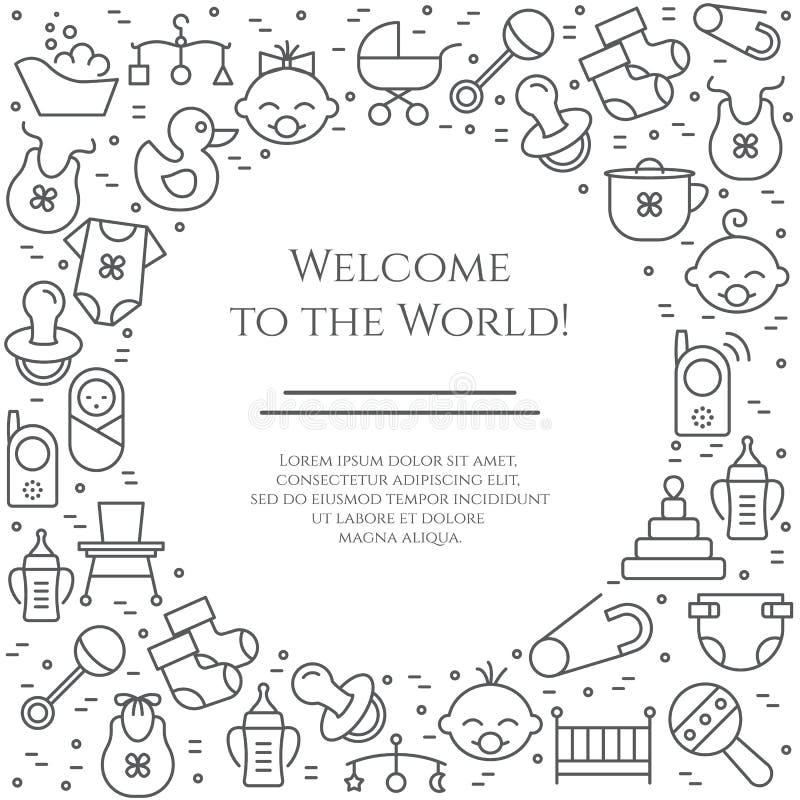 Baby theme horizontal banner. Pictograms of baby, pram, crib, mobile, toys, rattle, bottle, diaper, bathtub, cloth, bib and other royalty free illustration