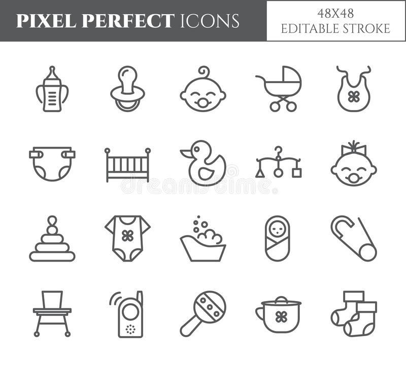 Baby theme pixel perfect 48X48 icons. vector illustration