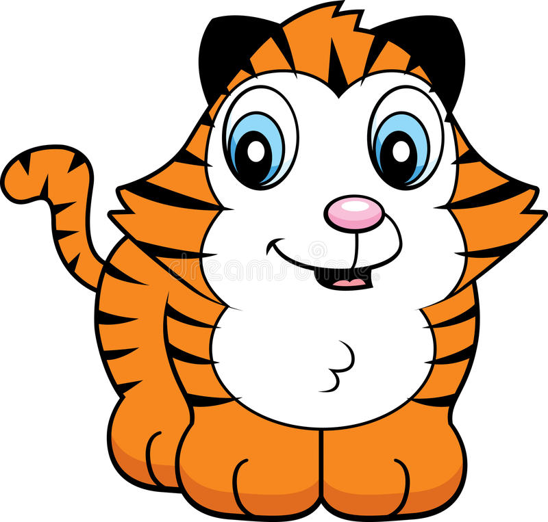 Baby Tiger. A cartoon baby tiger cub smiling and happy stock illustration