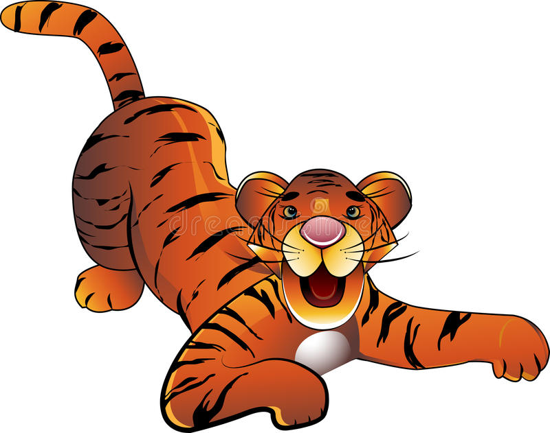 Baby tiger. Decorative baby tiger on a white background vector illustration