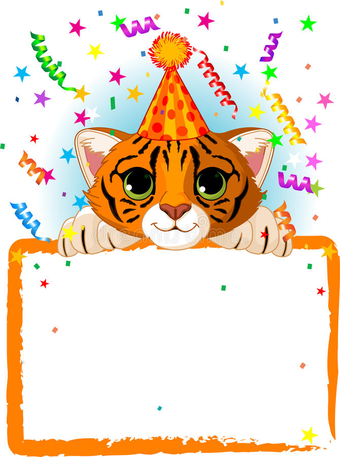 Baby Tiger Birthday. Adorable Baby Tiger Wearing A Party Hat, Looking Over A Blank Starry Sign With Colorful Confetti stock illustration