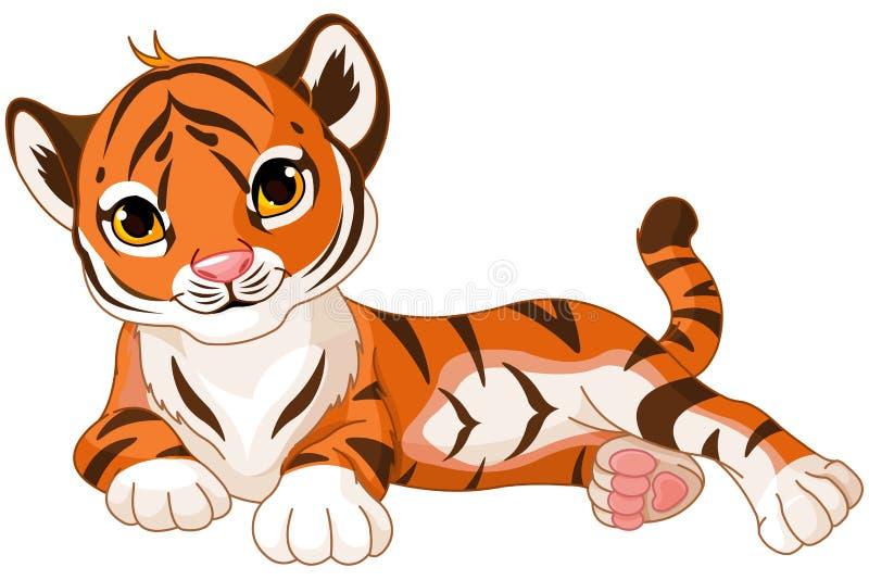 Baby Tiger. Illustration of cute baby tiger lies royalty free illustration