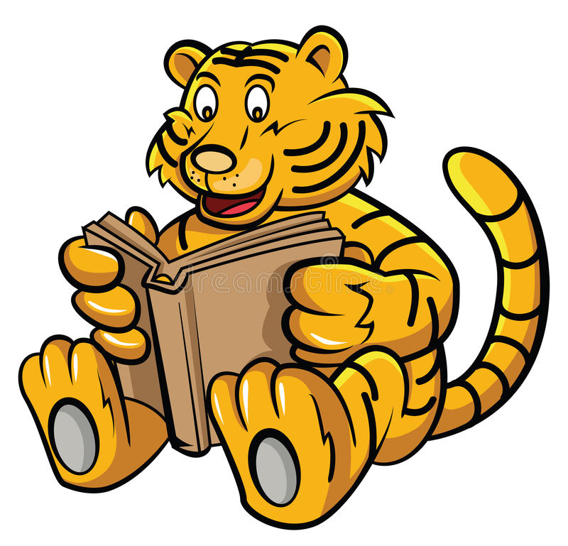 Baby Tiger Learning with Book. Eps 10 illustration Design stock illustration