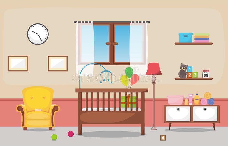 Baby Toddler Children Bedroom Interior Room Furniture Flat Design.  royalty free illustration