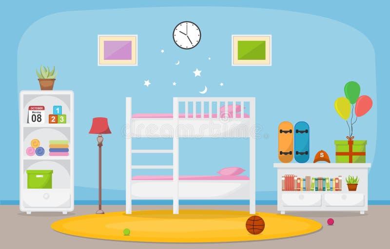Baby Toddler Children Bedroom Interior Room Furniture Flat Design.  vector illustration