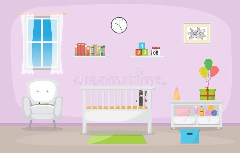 Baby Toddler Children Bedroom Interior Room Furniture Flat Design.  stock illustration