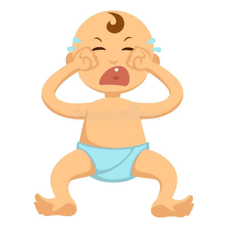 Baby toddler in diaper crying or weeping vector flat isolated character icon. Baby toddler crying vector flat character. Isolated icon of boy or girl infant cute vector illustration
