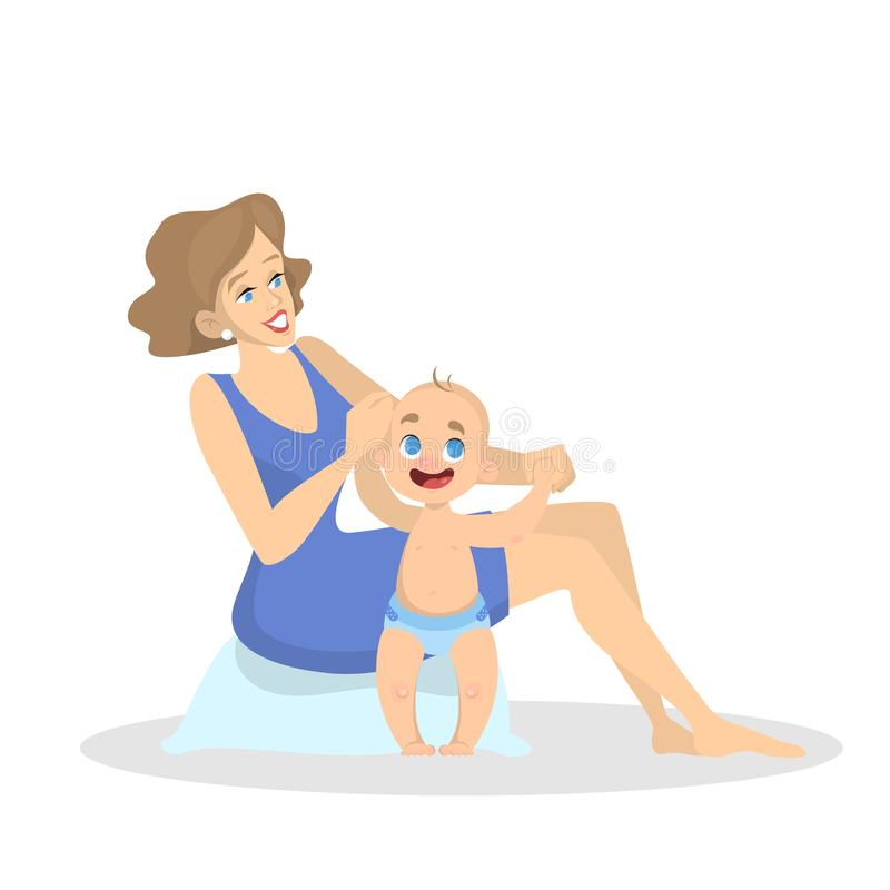 Baby toddler learn to walk. Mother holding vector illustration