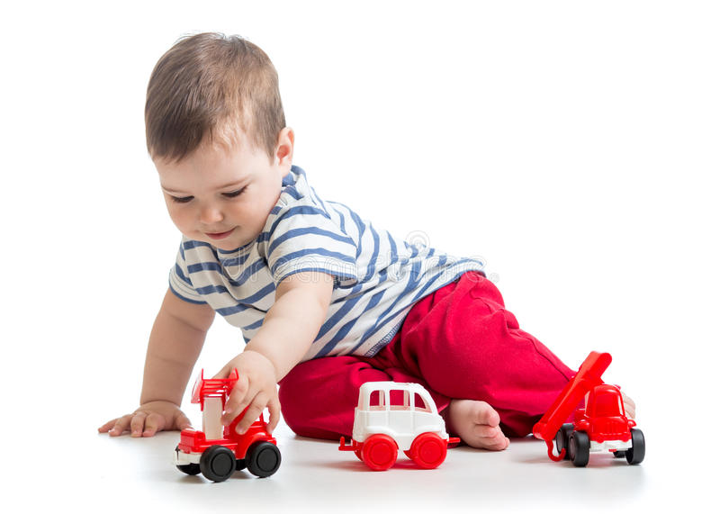 Baby Boy Toy Cars : Baby toddler playing with toy car stock image of