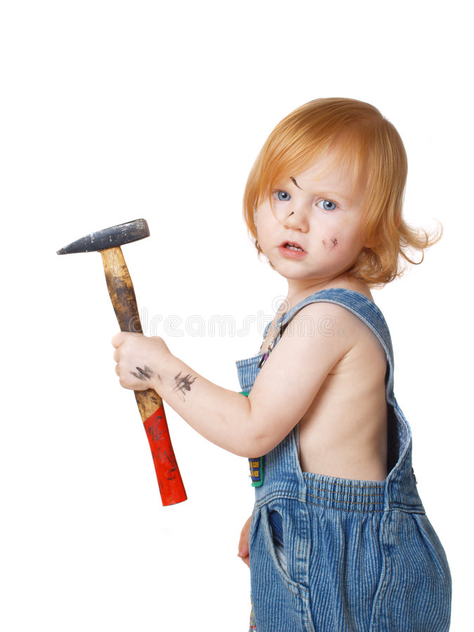 Baby with tool isolated on white stock image