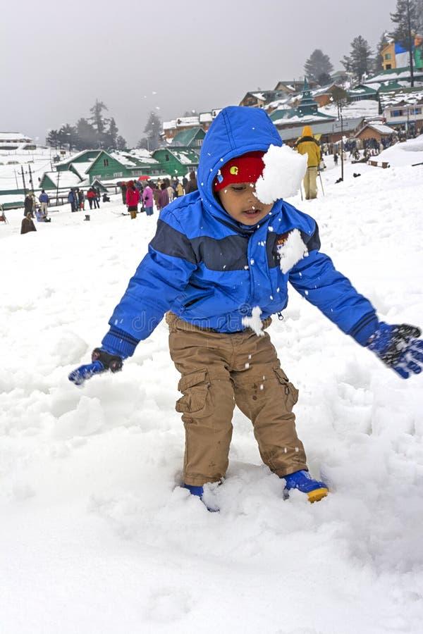 Baby tourist at Gulmarg, Kashmir, India stock image