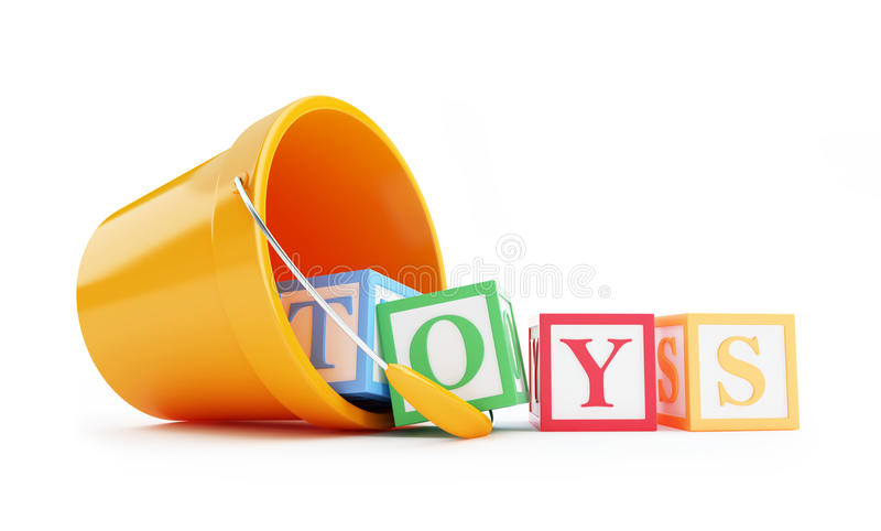 Download Baby toy bucket stock illustration. Image of blocks, cube - 28510423