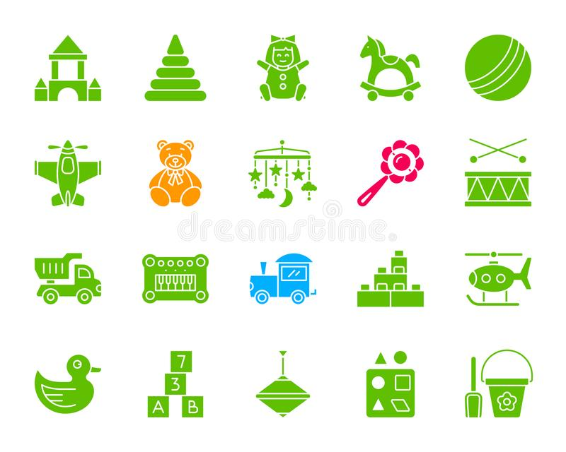 Baby Toy color silhouette icons vector set. Baby toy silhouette icons set. Isolated web sign kit of children play. Kids game pictogram collection includes truck stock illustration
