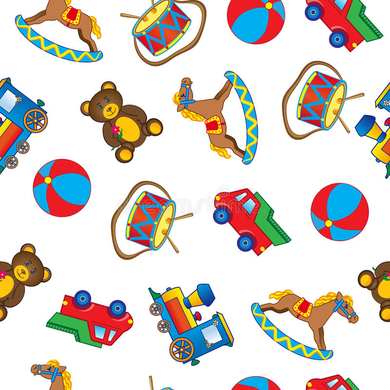 Baby toy drawings, car, bear, horse, ball, train, drum isolated on white, Vector Illustration, Seamless pattern royalty free illustration