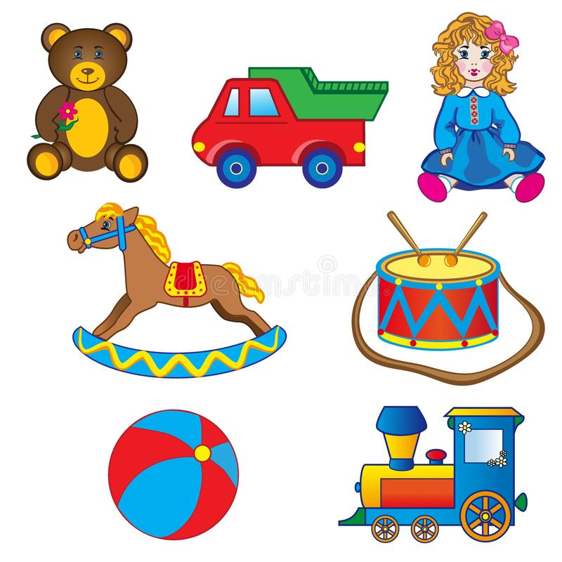 Baby toy drawings, car, bear, horse, doll, ball, engine, drum isolated on white, Vector Illustration, Character design. For poster, greeting card, children stock illustration