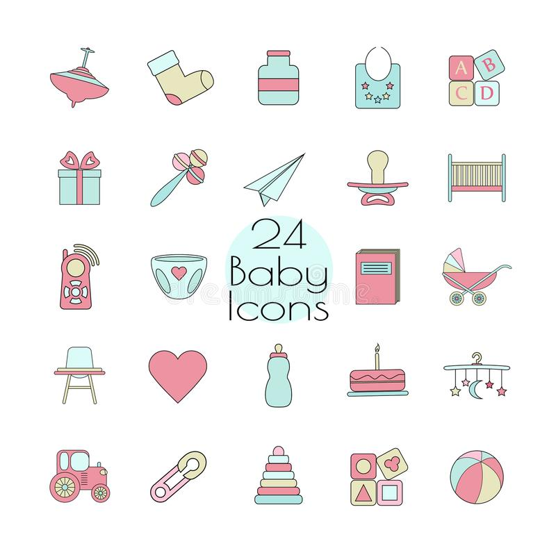 Baby, toy, feed and care24 colorful ready to use isolated icons on white background. vector illustration