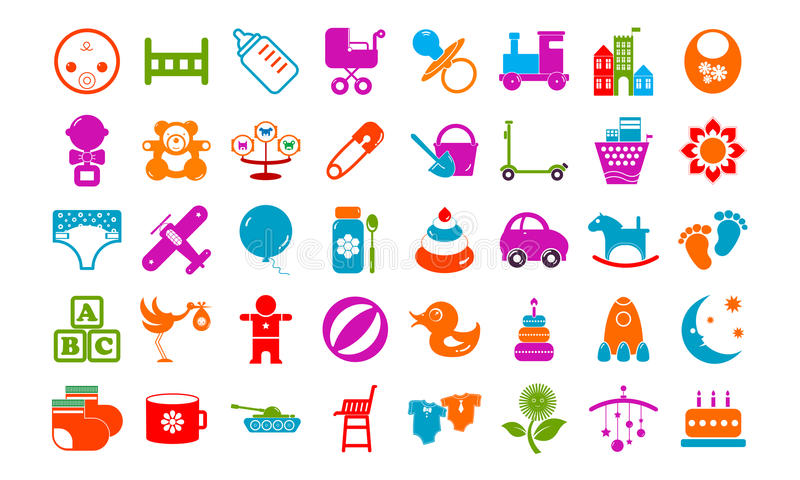 Baby toy icons buttons set. Baby toy icons buttons vector illustration