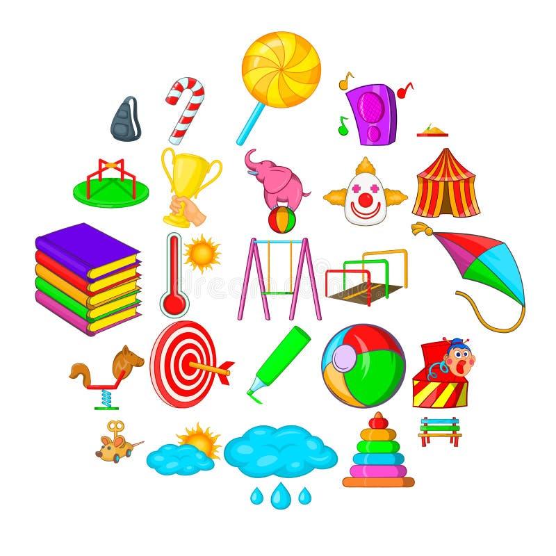 Baby toy icons set, cartoon style. Baby toy icons set. Cartoon set of 25 baby toy vector icons for web isolated on white background stock illustration