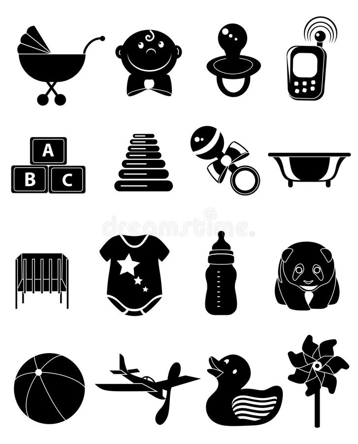 Baby Toy Icons Set. Vector illustration of baby and kids toy black icons set on a white background vector illustration