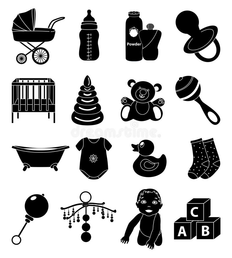 Baby Toy Icons Set. Vector illustration of baby and kids toy black icons set on a white background stock illustration