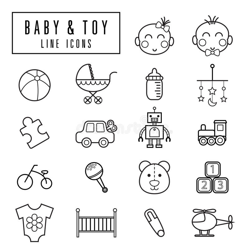 Baby and toy icons royalty free illustration