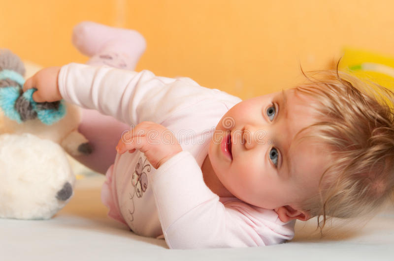 Download Baby with toys stock image. Image of lies, toys, funny - 17311441