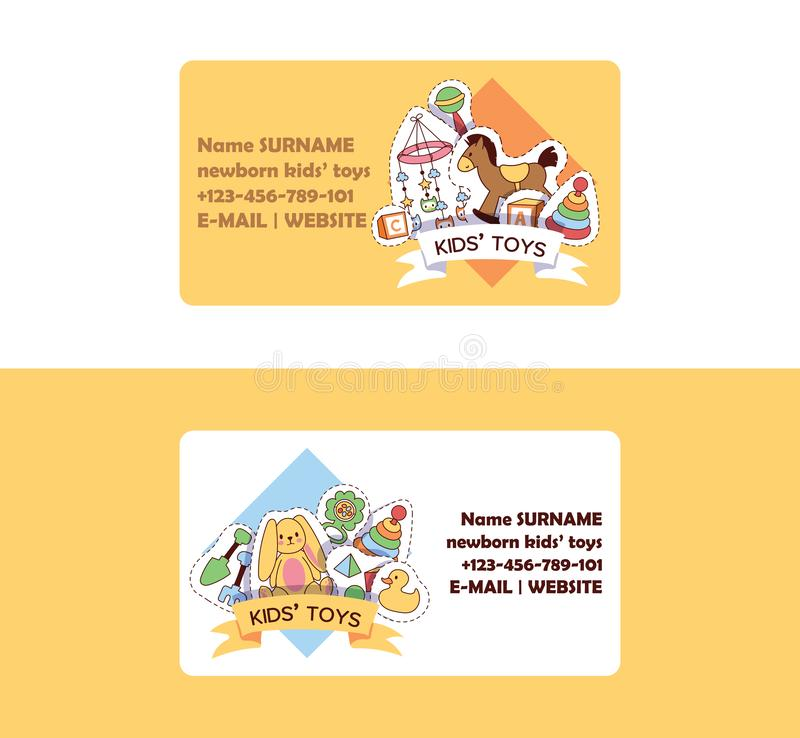 Baby toys business card vector cartoon kids games duck pyramid for children in baby shop and advertisement child store. Shopping business-card set backdrop stock illustration