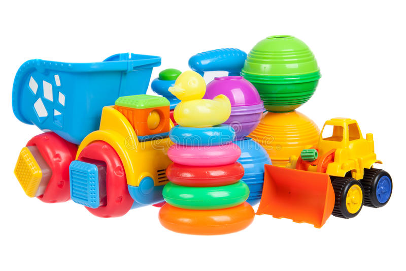 Baby toys collection isolated stock image