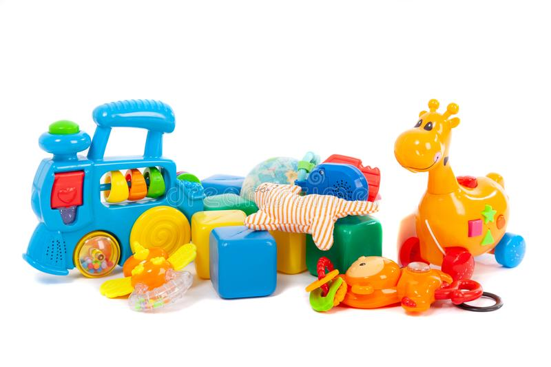Baby toys collection isolated on white royalty free stock images