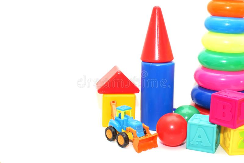Baby toys collection isolated on white stock images