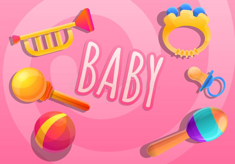 Baby toys concept banner, cartoon style. Baby toys concept banner. Cartoon illustration of baby toys vector concept banner for web design vector illustration