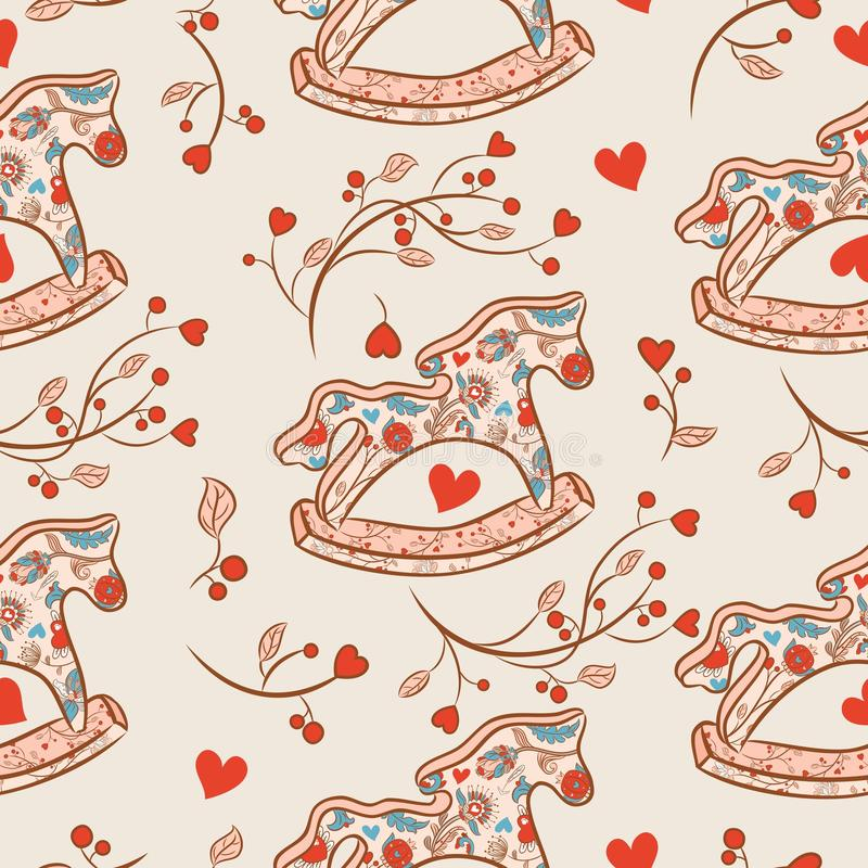 Baby toys horse seamles pattern. With brunch and hearts royalty free illustration
