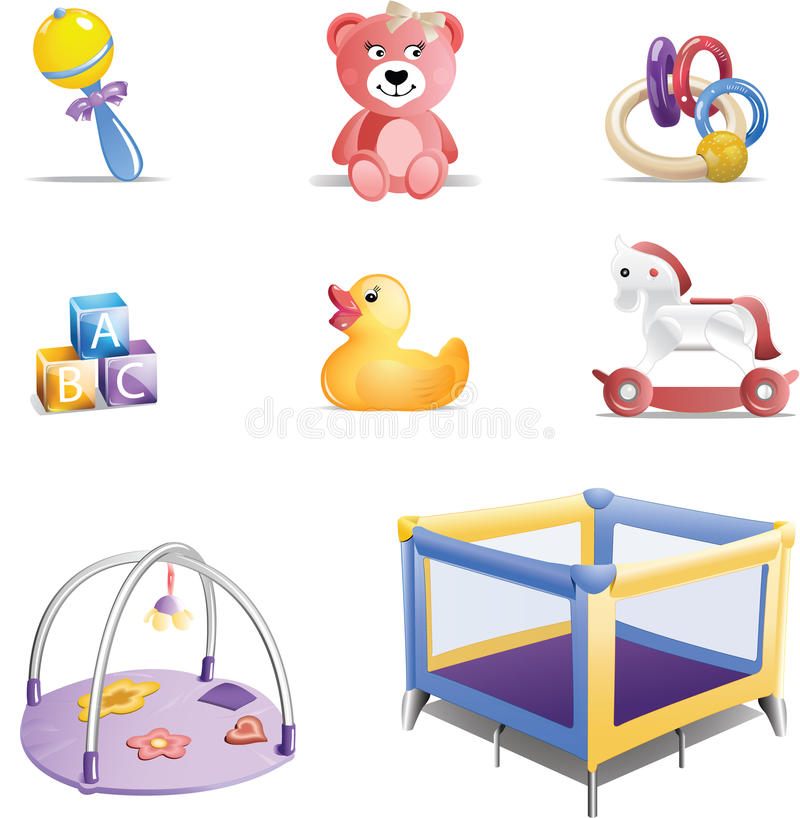 Free Baby Toys Icon Set Royalty Free Stock Images - 16107439