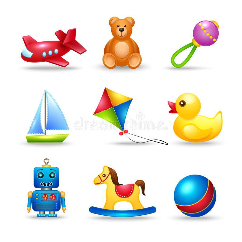 Free Baby Toys Icons Set Royalty Free Stock Photo - 40045665