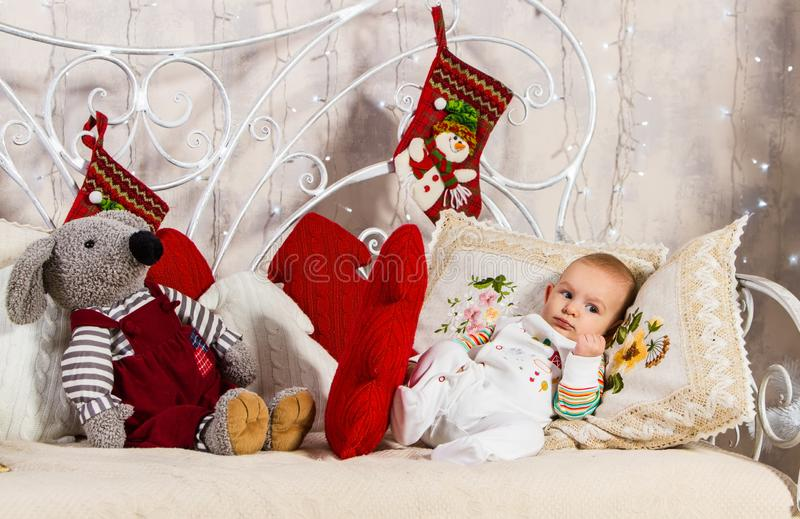 Baby among toys royalty free stock image
