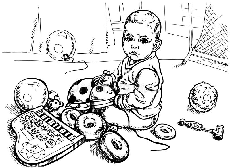 Baby Toys Drawing : Baby with toys stock vector image of infant playing