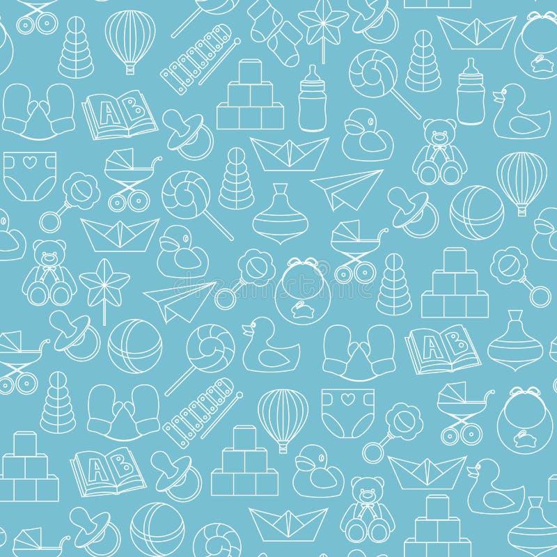 Baby toys seamless pattern on blue background stock illustration