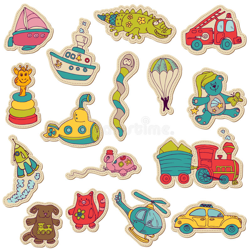 Baby Toys Stickers - for design and scrapbook royalty free illustration
