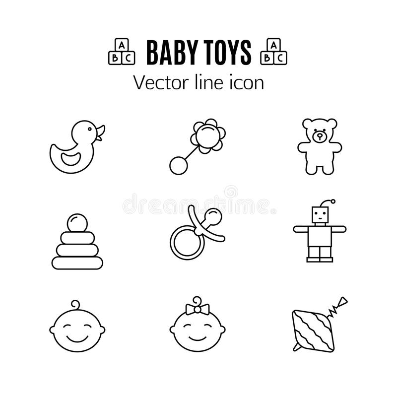 Baby toys thin line icon. Outline symbol kid plaything for games to design for the design of children`s website, clinic. And mobile applications. Simple baby royalty free illustration